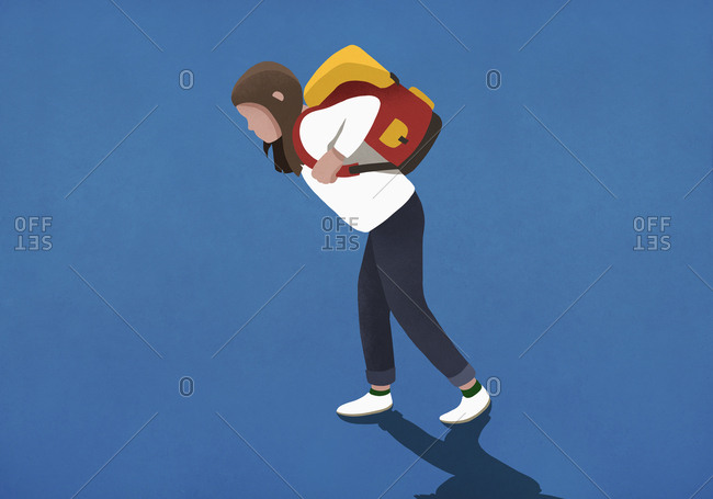 Girl bogged down by heavy backpack