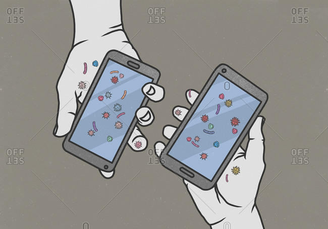 Hands holding smart phones covered in bacteria