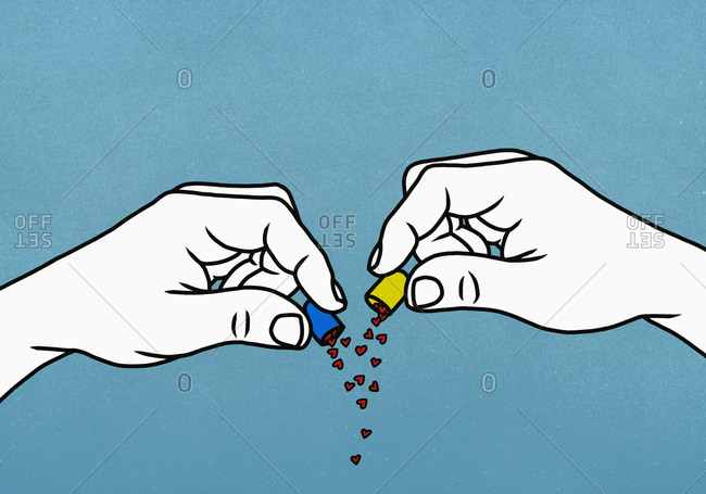 Hearts spilling from open medicine capsule