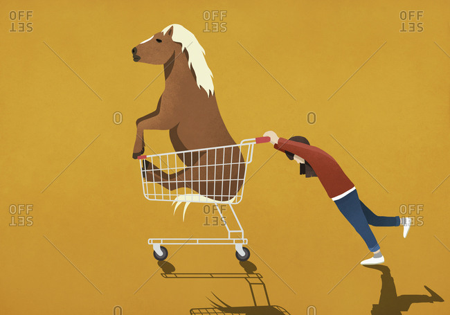 Girl pushing shopping cart with pony