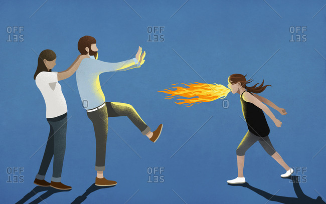 Angry girl breathing fire toward parents