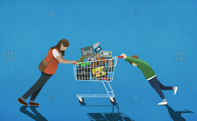 Mother resisting son pushing shopping cart full of toys
