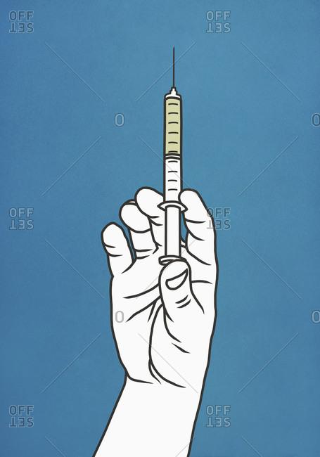 Hand with syringe