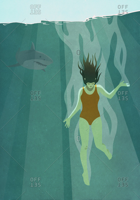 Shark watching oblivious woman dive into ocean