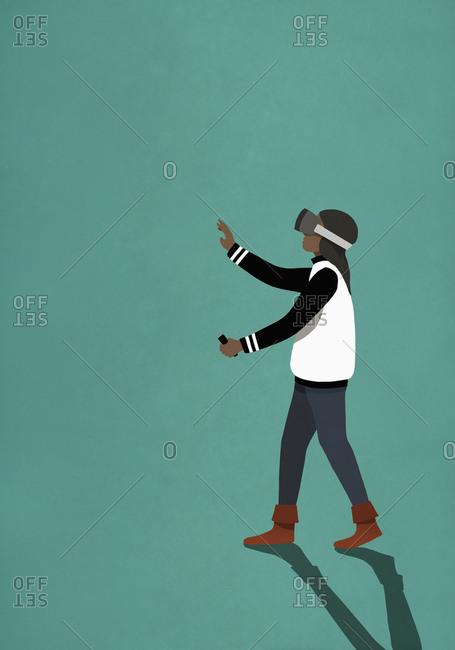 Woman using virtual reality simulator