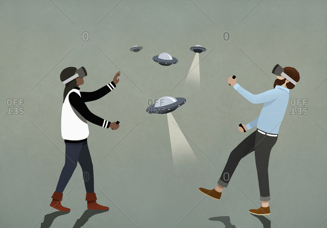 Couple playing UFO video game with virtual reality simulator glasses