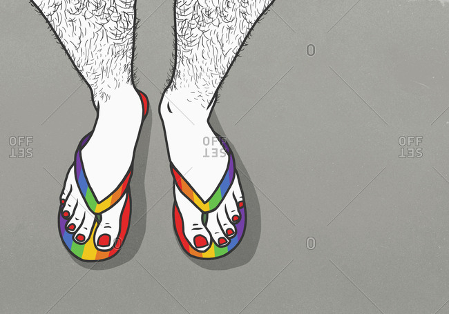 Man with hairy legs and painted toenails wearing rainbow flip-flops