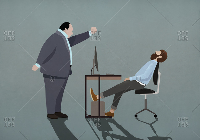 Angry boss shaking fist at sleeping businessman in office