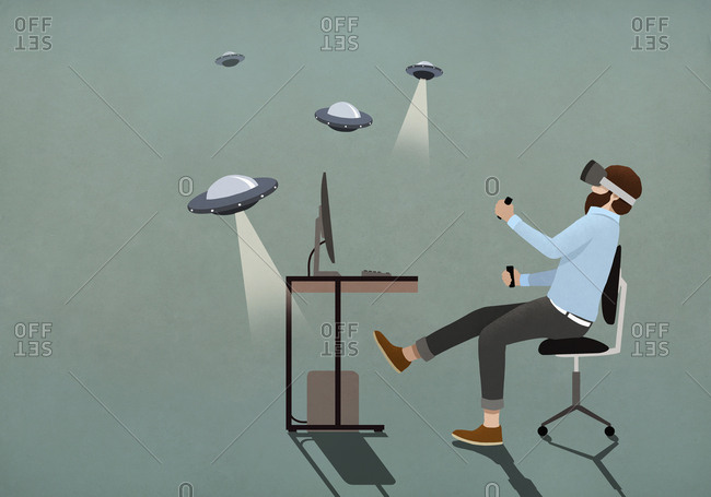 Man playing UFO video game with virtual reality simulator glasses