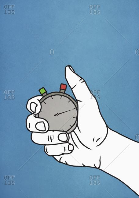 Man holding stopwatch
