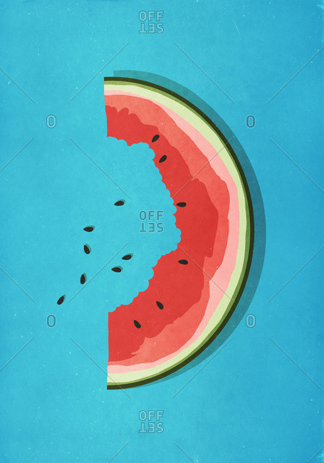 Half-eaten watermelon slice and seeds on blue background