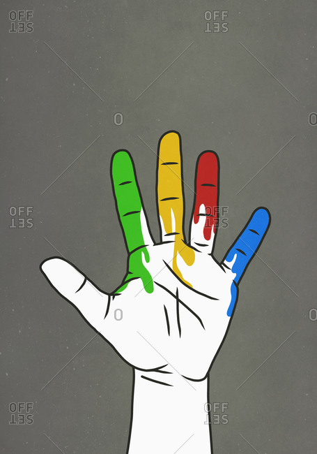 Raised hand dripping rainbow paint