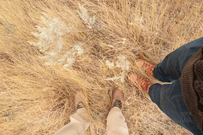 Man and woman's feet stand in dry grasslands