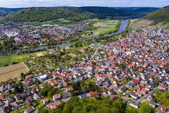 View of Kleinheubach and Grossheubach- Bavaria- Germany
