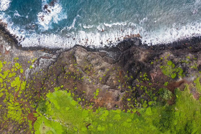 Overhead view over Pacific Ocean and West Maui Mountains- Maui- Hawaii- USA