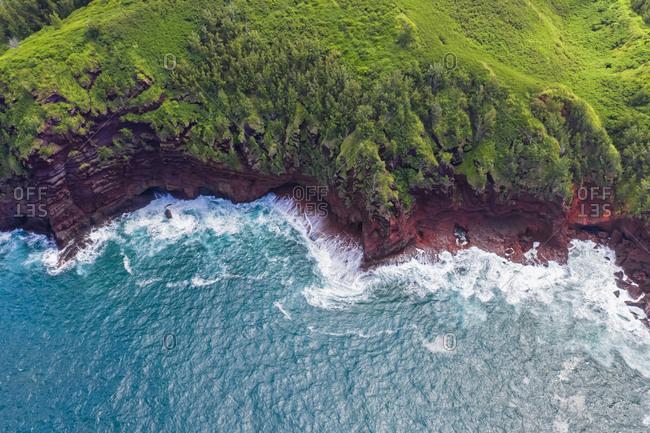 Overhead view over Pacific Ocean and West Maui Mountains- Honokohau Bay- Maui- Hawaii- USA