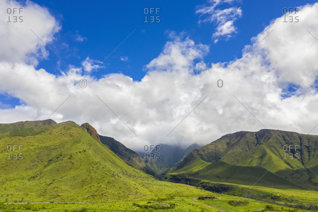 Aerial view over West Maui Mountains- Maui- Hawaii- USA