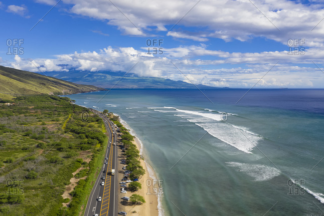 Aerial view over West Maui Mountains- Pacific Ocean and the coast along the Hawaii Route 30- Maui- Hawaii- USA