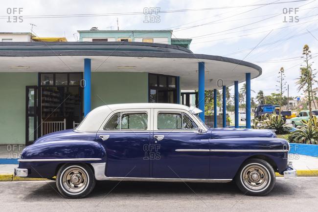 March 14, 2018: Parked blue vintage car- Havana- Cuba