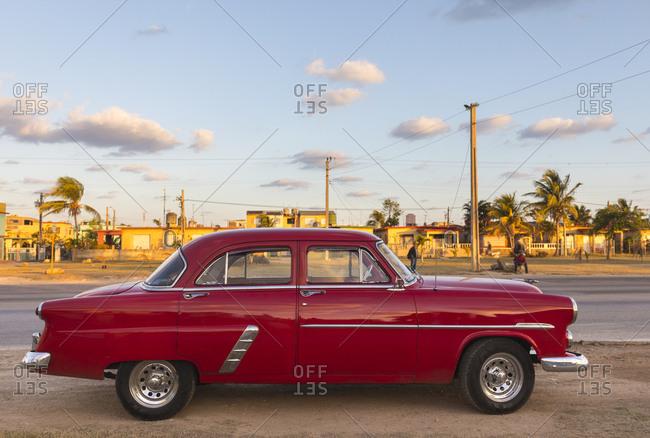 March 15, 2018: Parked red vintage car- Havana- Cuba