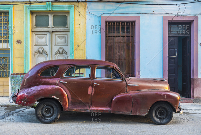 March 17, 2018: Repaired vintage car- Havana- Cuba