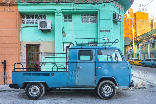 March 17, 2018: Parked modified blue van- Havana- Cuba