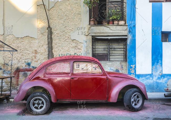 March 17, 2018: Parked red vintage car- Havana- Cuba