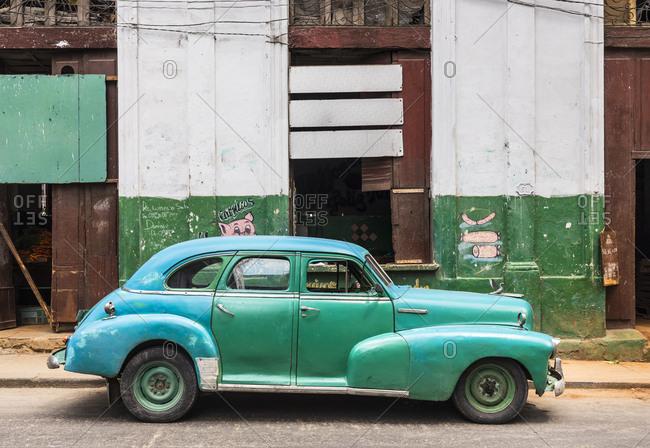 March 17, 2018: Repaired vintage car- Havana- Cuba