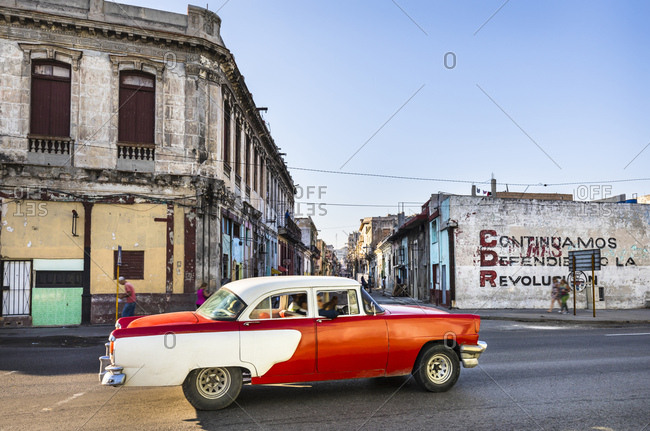 March 17, 2018: Driving vintage car- Havana- Cuba