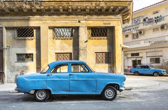 March 18, 2018: Parked blue vintage car- Havana- Cuba