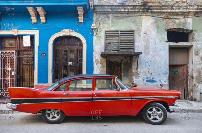 March 19, 2018: Parked red vintage car- Havana- Cuba