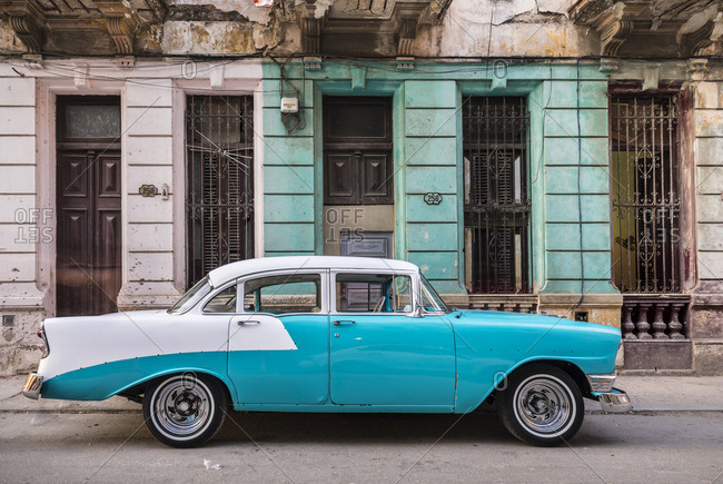 March 20, 2018: Parked vintage car- Havana- Cuba