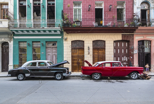 March 20, 2018: Two parked vintage car-s Havana- Cuba