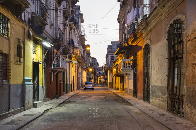 March 18, 2018: View of empty street at Centro Viejo by twilight- Havana- Cuba