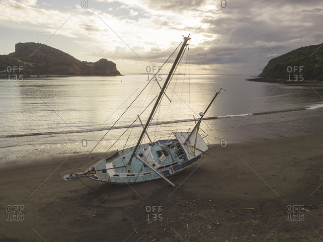 Old yacht at Benete beach- Maluk- West Sumbawa-Indonesia
