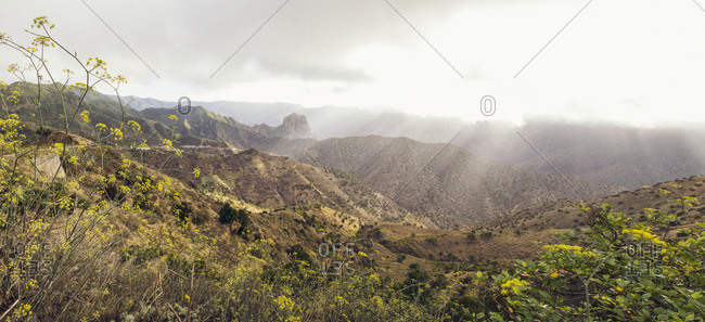 Mountain scenery in backlight- Roque Cano- Vallehermoso- La Gomera- Canary Islands- Spain