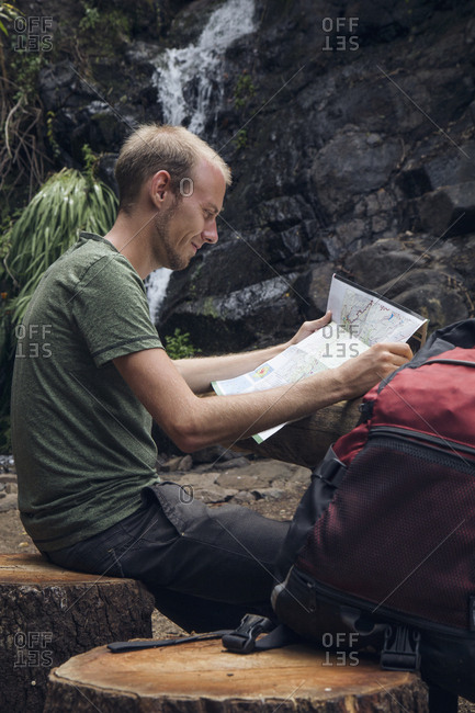 Hiker taking a break at rest area- Barranco el Cedro- La Gomera- Canary Islands- Spain
