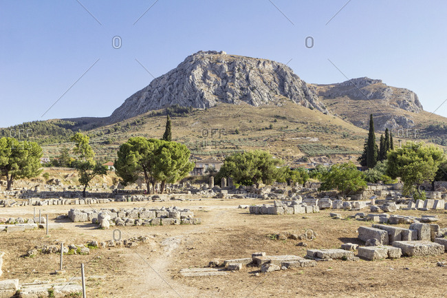 Archaeological site with view on Acrocorinth- Corinth- Greece