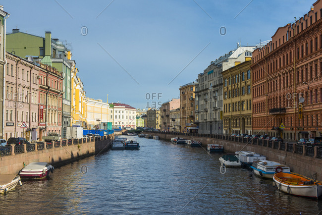 August 31, 2012: Water channel in the center of St. Petersburg- Russia