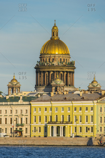 City center of St. Petersburg from the Neva at sunset with the St. Isaac cathedral- Russia