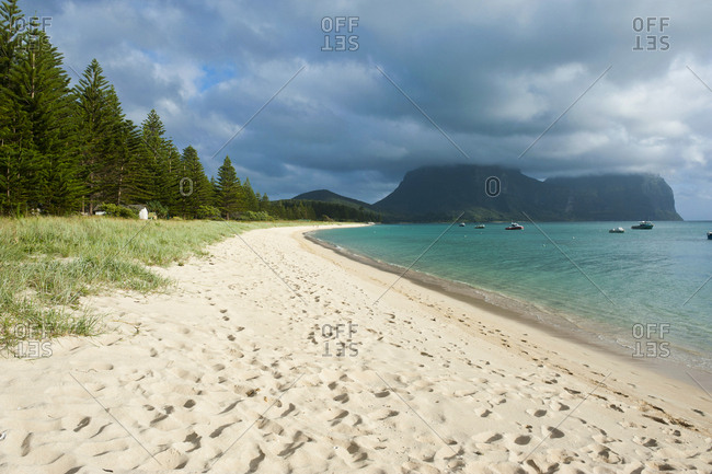 Deserted beach with Mount Lidgbird and Mount Gower in the background- Lord Howe Island- New South Wales- Australia