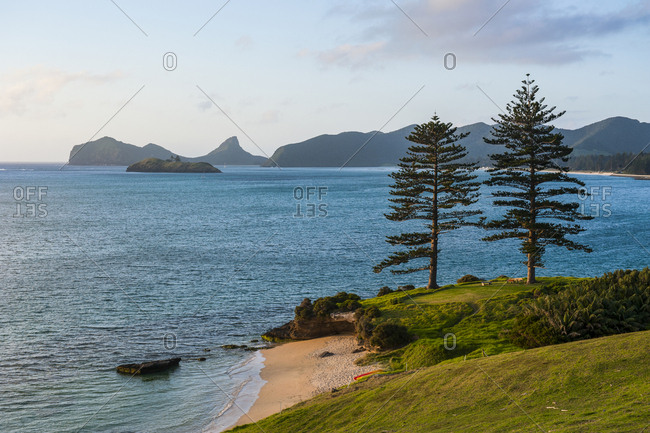 Beach on a golf course overlooking Lord Howe Island- New South Wales- Australia