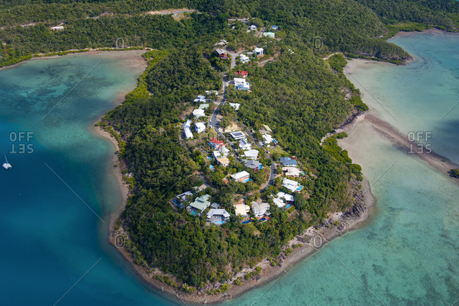 Aerial view of houses at Airlie beach- Queensland- Australia