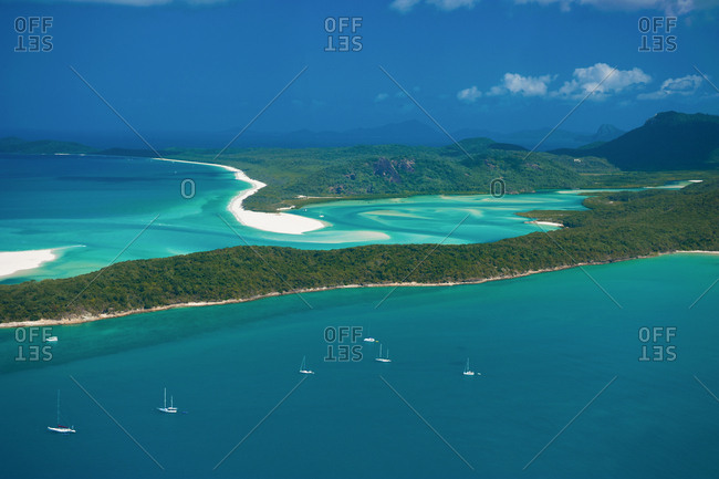 Aerial view of Whitehaven Beach- Whitsunday Islands- Queensland- Australia