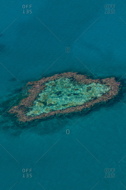 Aerial view of coral reef  at Whitsunday Islands- Queensland- Australia