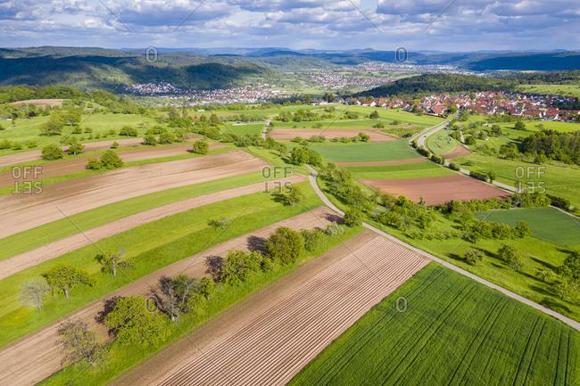 Aerial view of fields- Swabian Forest- Rems-Murr-Kreis- Germany