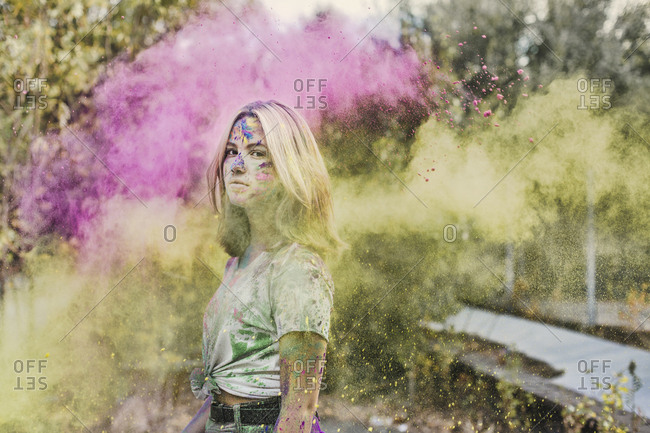 Girl with Holi powder colors- Germany