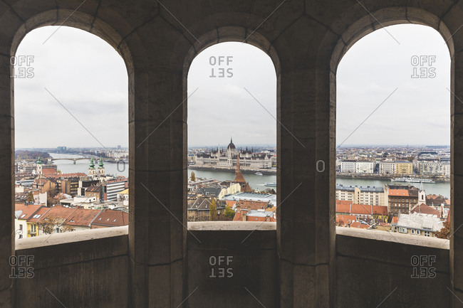 View of the city and the parliament from the Fishermans bastion- Budapest- Hungary