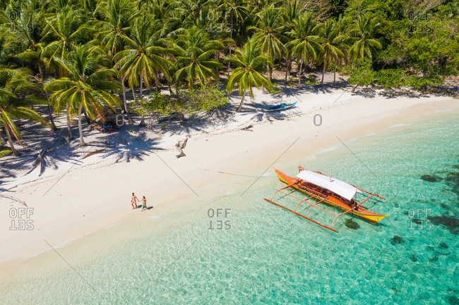 Aerial view of picturesque ocean shore with palm grove, walking people and orange tourist boat on sunny day