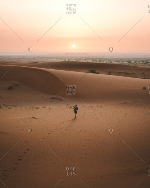 Back view of barefoot man in summer shirt walking on sandy dune of endless desert in sunset, Morocco